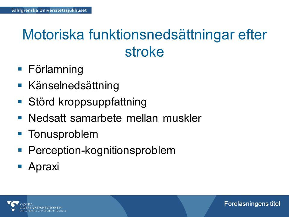 Föreläsningens titel Motoriska funktionsnedsättningar efter stroke  Förlamning  Känselnedsättning  Störd kroppsuppfattning  Nedsatt samarbete mell