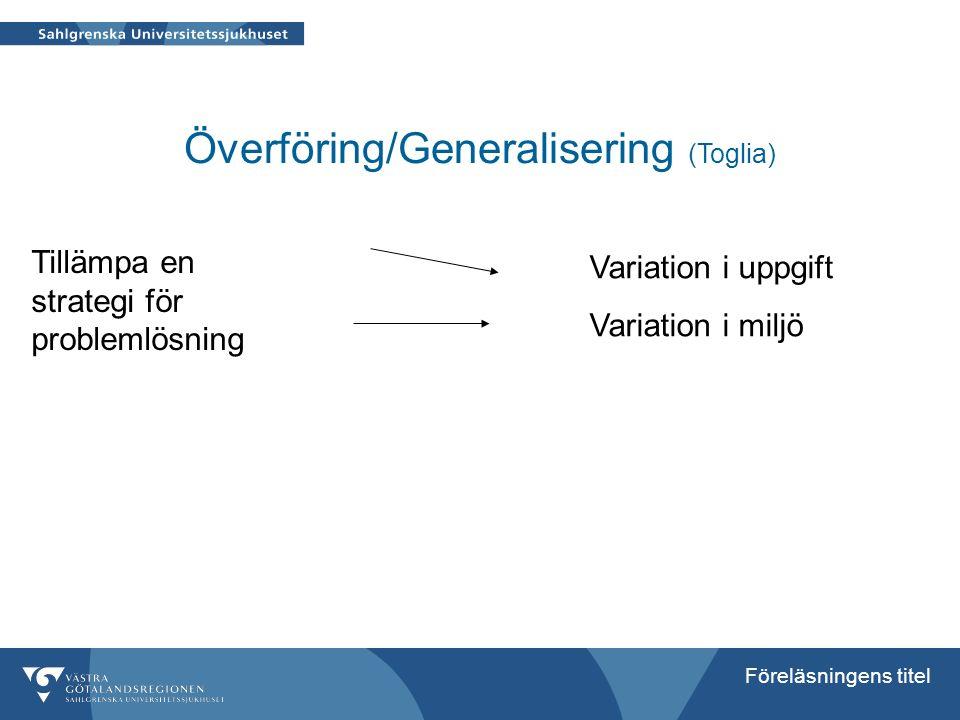 Föreläsningens titel Överföring/Generalisering (Toglia) Tillämpa en strategi för problemlösning Variation i uppgift Variation i miljö
