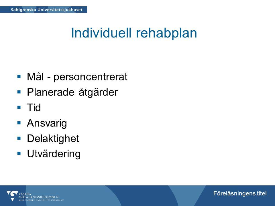 Föreläsningens titel Individuell rehabplan  Mål - personcentrerat  Planerade åtgärder  Tid  Ansvarig  Delaktighet  Utvärdering