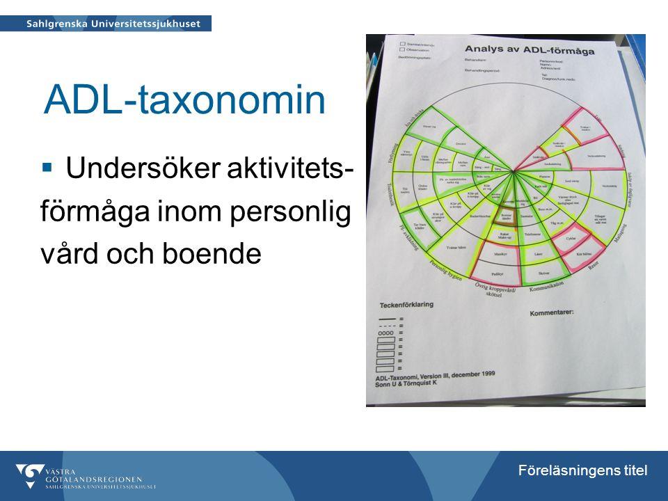 Föreläsningens titel ADL-taxonomin  Undersöker aktivitets- förmåga inom personlig vård och boende