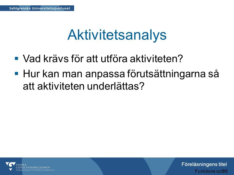Föreläsningens titel Funktions och aktivitetsnedsättningar 36 Aktivitetsanalys  Vad krävs för att utföra aktiviteten?  Hur kan man anpassa förutsätt