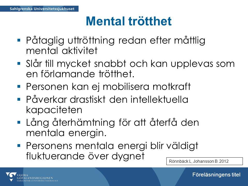 Föreläsningens titel Mental trötthet  Påtaglig uttröttning redan efter måttlig mental aktivitet  Slår till mycket snabbt och kan upplevas som en för
