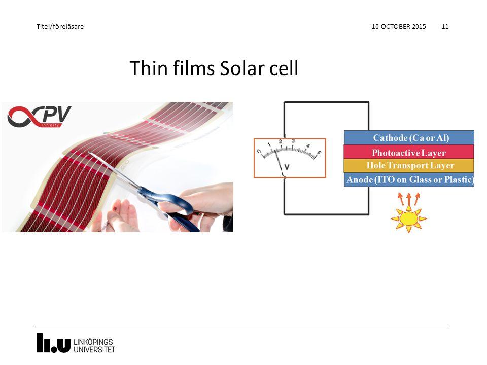 Thin films Solar cell 10 OCTOBER 2015 11 Titel/föreläsare