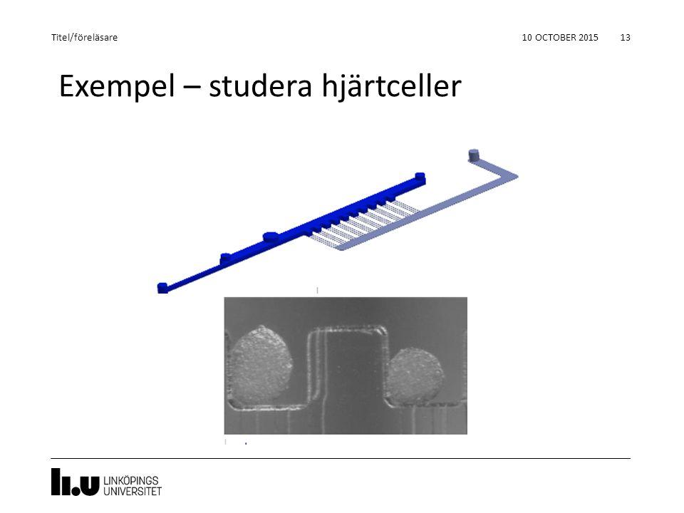 Exempel – studera hjärtceller 10 OCTOBER 2015 13 Titel/föreläsare