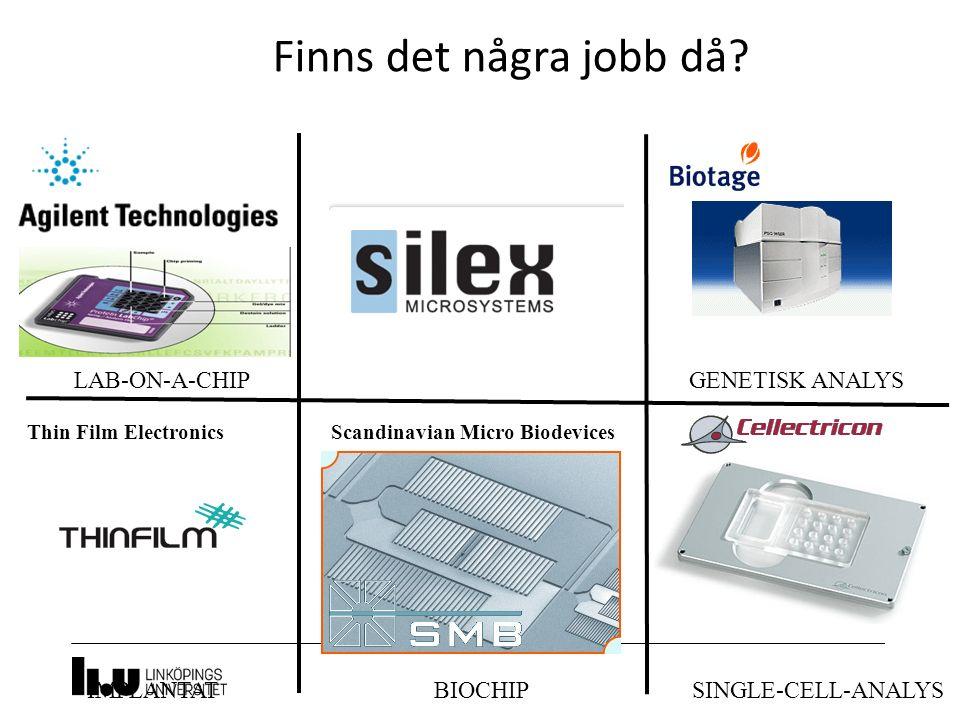 ARBETSMARKNAD LAB-ON-A-CHIP IMPLANTAT Scandinavian Micro Biodevices BIOCHIP GENETISK ANALYS SINGLE-CELL-ANALYS Finns det några jobb då? Thin Film Elec