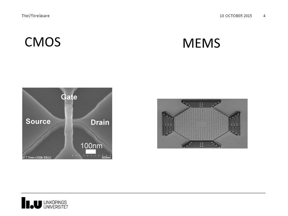 CMOS 10 OCTOBER 2015 4 Titel/föreläsare MEMS