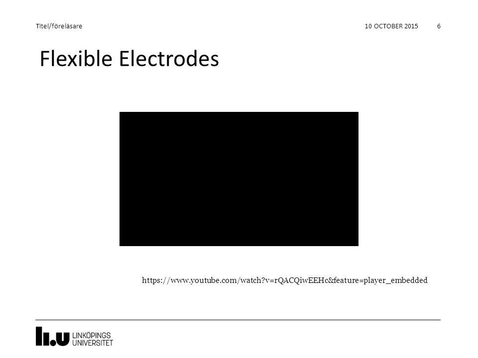 Flexible Electrodes 10 OCTOBER 2015 6 Titel/föreläsare https://www.youtube.com/watch?v=rQACQiwEEHc&feature=player_embedded