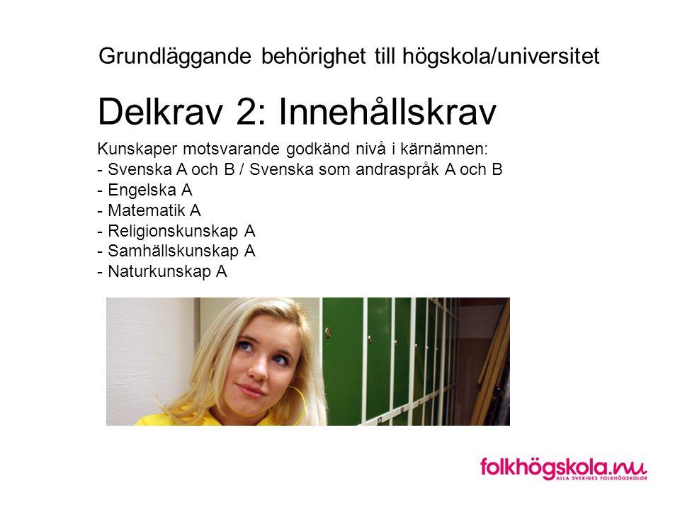 Kunskaper motsvarande godkänd nivå i kärnämnen: - Svenska A och B / Svenska som andraspråk A och B - Engelska A - Matematik A - Religionskunskap A - Samhällskunskap A - Naturkunskap A Delkrav 2: Innehållskrav Grundläggande behörighet till högskola/universitet