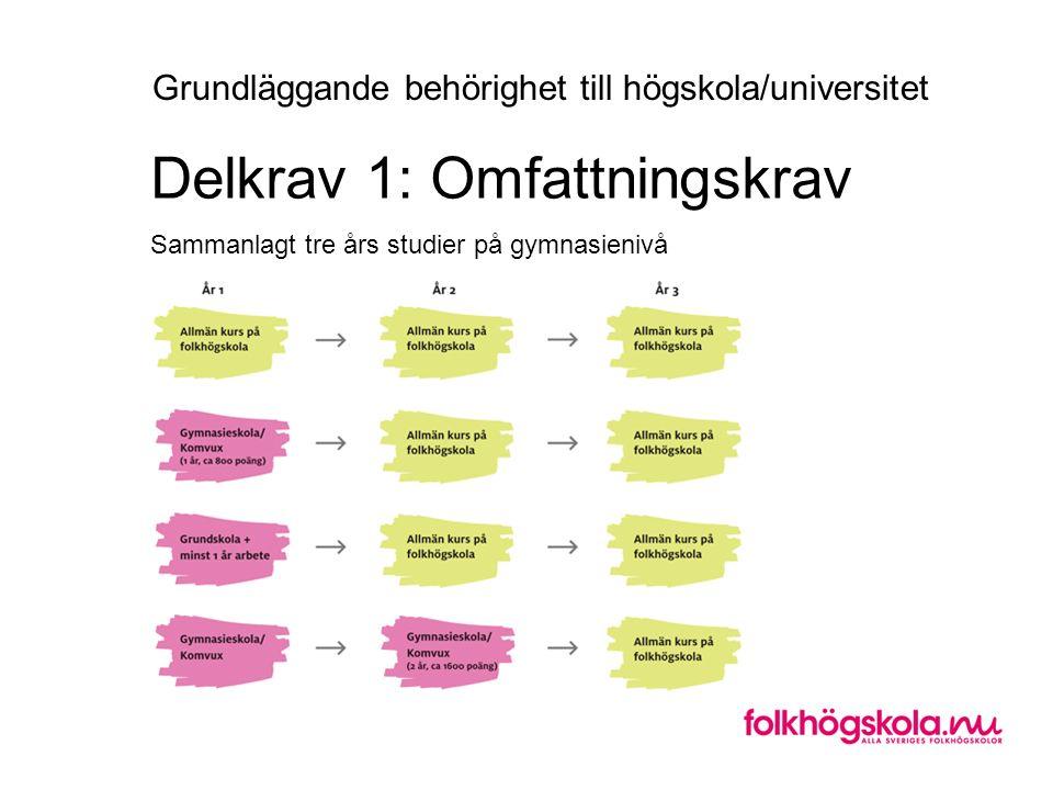 Sammanlagt tre års studier på gymnasienivå Delkrav 1: Omfattningskrav Grundläggande behörighet till högskola/universitet