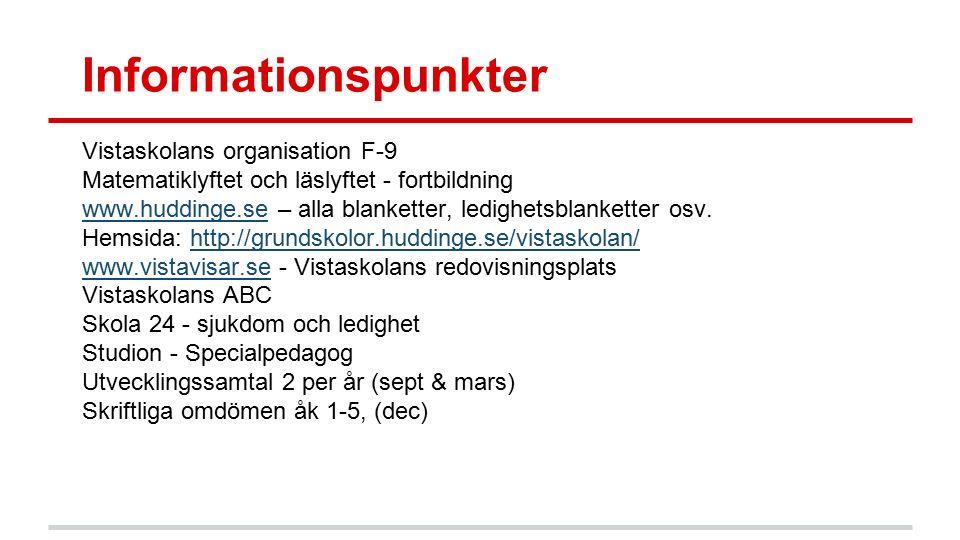 Informationspunkter Vistaskolans organisation F-9 Matematiklyftet och läslyftet - fortbildning www.huddinge.sewww.huddinge.se – alla blanketter, ledig