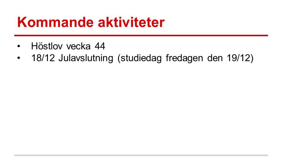 Kommande aktiviteter Höstlov vecka 44 18/12 Julavslutning (studiedag fredagen den 19/12)