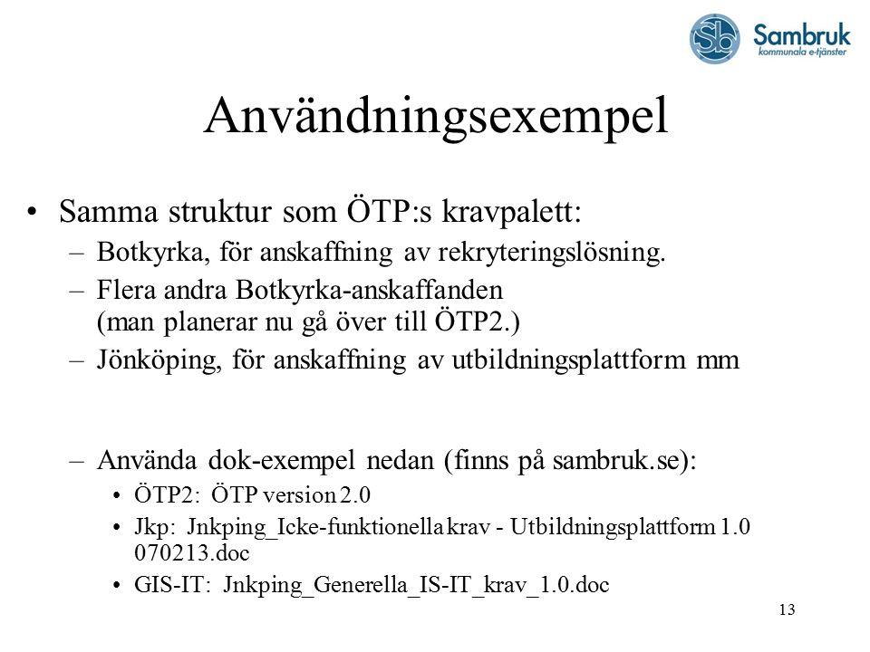 13 Användningsexempel Samma struktur som ÖTP:s kravpalett: –Botkyrka, för anskaffning av rekryteringslösning.