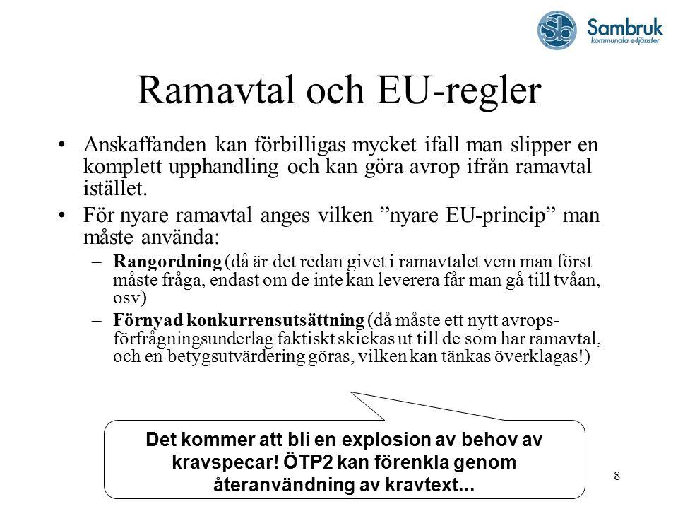 8 Ramavtal och EU-regler Anskaffanden kan förbilligas mycket ifall man slipper en komplett upphandling och kan göra avrop ifrån ramavtal istället.