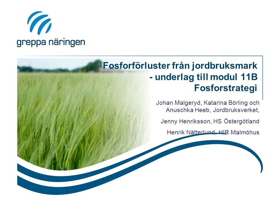Fosforförluster från jordbruksmark - underlag till modul 11B Fosforstrategi Johan Malgeryd, Katarina Börling och Anuschka Heeb, Jordbruksverket, Jenny