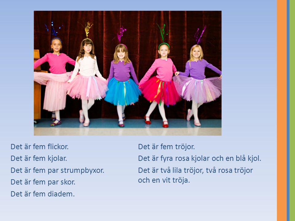 Det är fem flickor. Det är fem kjolar. Det är fem par strumpbyxor. Det är fem par skor. Det är fem diadem. Det är fem tröjor. Det är fyra rosa kjolar