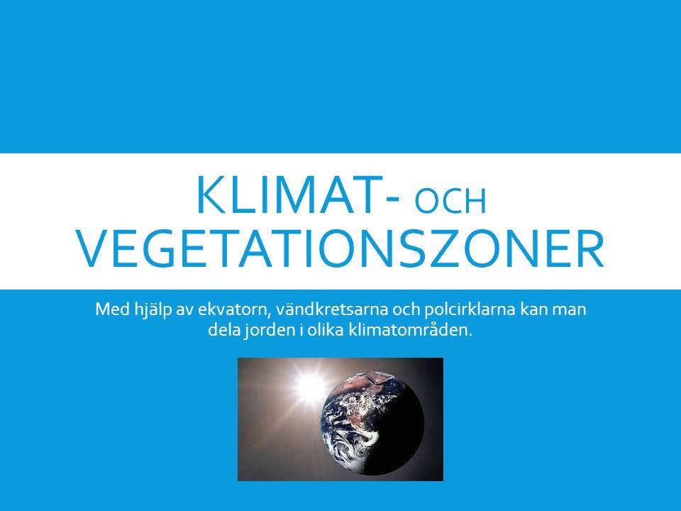 KLIMAT- OCH VEGETATIONSZONER Med hjälp av ekvatorn, vändkretsarna och polcirklarna kan man dela jorden i olika klimatområden.