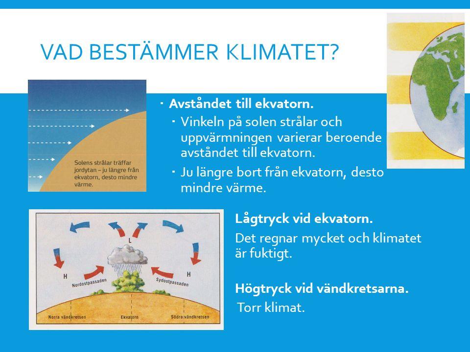 VAD BESTÄMMER KLIMATET?  Avståndet till ekvatorn.  Vinkeln på solen strålar och uppvärmningen varierar beroende på avståndet till ekvatorn.  Ju län