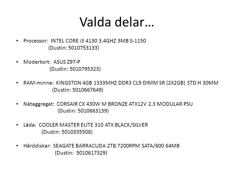 DUSTIN Computerpackage Intel G3220/4GB/1TB (Dustin: 5010756816) Köpa byggsats ?