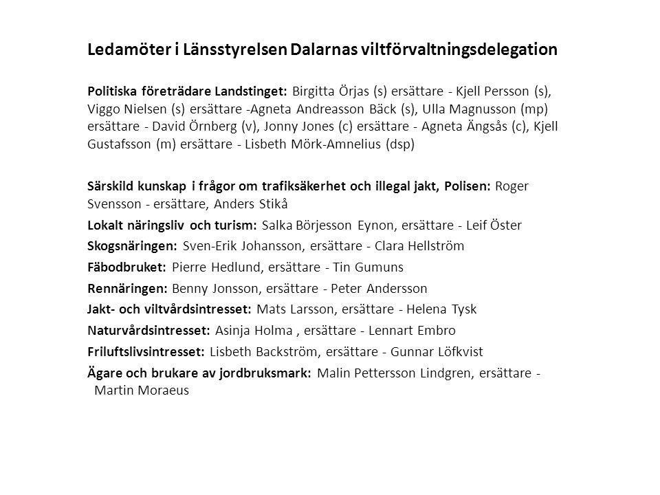 Ledamöter i Länsstyrelsen Dalarnas viltförvaltningsdelegation Politiska företrädare Landstinget: Birgitta Örjas (s) ersättare - Kjell Persson (s), Viggo Nielsen (s) ersättare -Agneta Andreasson Bäck (s), Ulla Magnusson (mp) ersättare - David Örnberg (v), Jonny Jones (c) ersättare - Agneta Ängsås (c), Kjell Gustafsson (m) ersättare - Lisbeth Mörk-Amnelius (dsp) Särskild kunskap i frågor om trafiksäkerhet och illegal jakt, Polisen: Roger Svensson - ersättare, Anders Stikå Lokalt näringsliv och turism: Salka Börjesson Eynon, ersättare - Leif Öster Skogsnäringen: Sven-Erik Johansson, ersättare - Clara Hellström Fäbodbruket: Pierre Hedlund, ersättare - Tin Gumuns Rennäringen: Benny Jonsson, ersättare - Peter Andersson Jakt- och viltvårdsintresset: Mats Larsson, ersättare - Helena Tysk Naturvårdsintresset: Asinja Holma, ersättare - Lennart Embro Friluftslivsintresset: Lisbeth Backström, ersättare - Gunnar Löfkvist Ägare och brukare av jordbruksmark: Malin Pettersson Lindgren, ersättare - Martin Moraeus