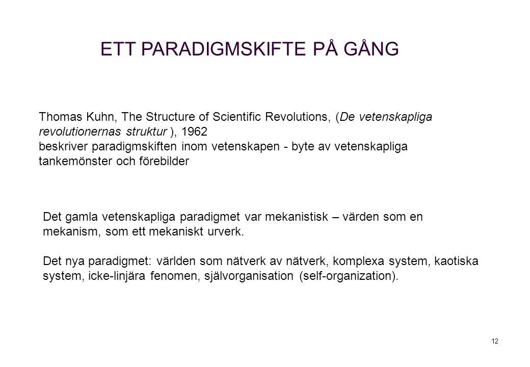 12 Thomas Kuhn, The Structure of Scientific Revolutions, (De vetenskapliga revolutionernas struktur ), 1962 beskriver paradigmskiften inom vetenskapen - byte av vetenskapliga tankemönster och förebilder Det gamla vetenskapliga paradigmet var mekanistisk – värden som en mekanism, som ett mekaniskt urverk.