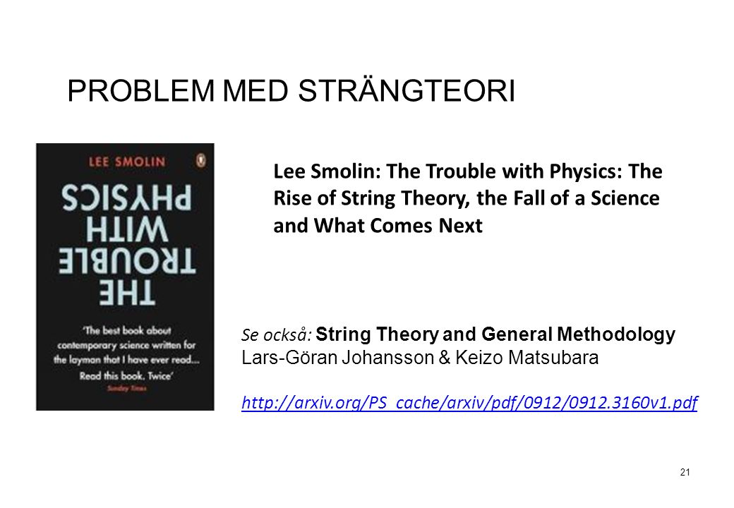21 PROBLEM MED STRÄNGTEORI Lee Smolin: The Trouble with Physics: The Rise of String Theory, the Fall of a Science and What Comes Next Se också: String Theory and General Methodology Lars-Göran Johansson & Keizo Matsubara http://arxiv.org/PS_cache/arxiv/pdf/0912/0912.3160v1.pdf