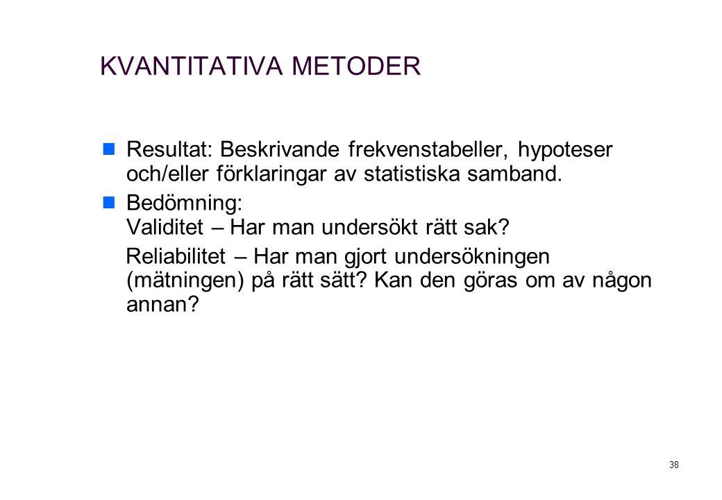38 Resultat: Beskrivande frekvenstabeller, hypoteser och/eller förklaringar av statistiska samband.