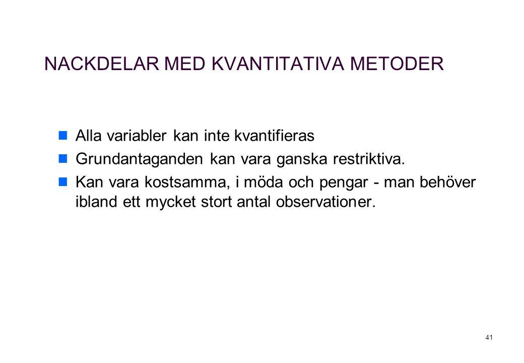 41 NACKDELAR MED KVANTITATIVA METODER Alla variabler kan inte kvantifieras Grundantaganden kan vara ganska restriktiva.