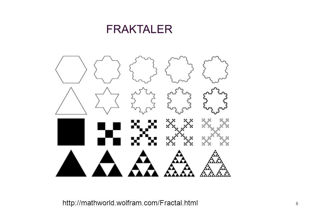 6 http://mathworld.wolfram.com/Fractal.html FRAKTALER