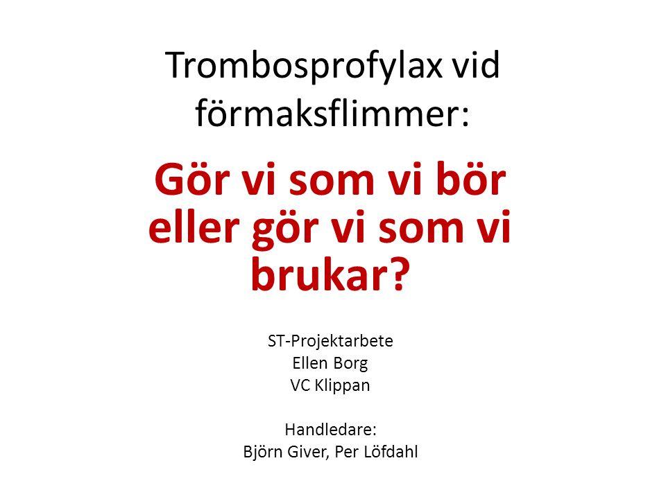 Material och Metod Felkällor: Icke uppdaterade diagnoslistor (införande av PMO) Icke uppdaterade medicinlistor Patienter som inte har varit på VC på kontroll inom de senaste 16 månaderna.
