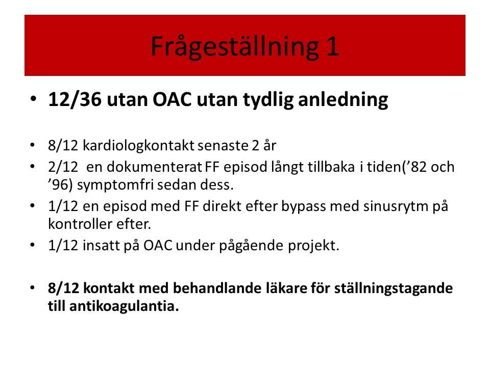 12/36 utan OAC utan tydlig anledning 8/12 kardiologkontakt senaste 2 år 2/12 en dokumenterat FF episod långt tillbaka i tiden('82 och '96) symptomfri sedan dess.