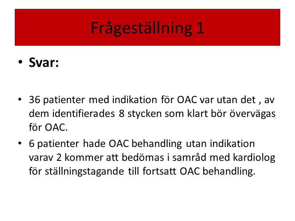 Frågeställning 1 Svar: 36 patienter med indikation för OAC var utan det, av dem identifierades 8 stycken som klart bör övervägas för OAC.