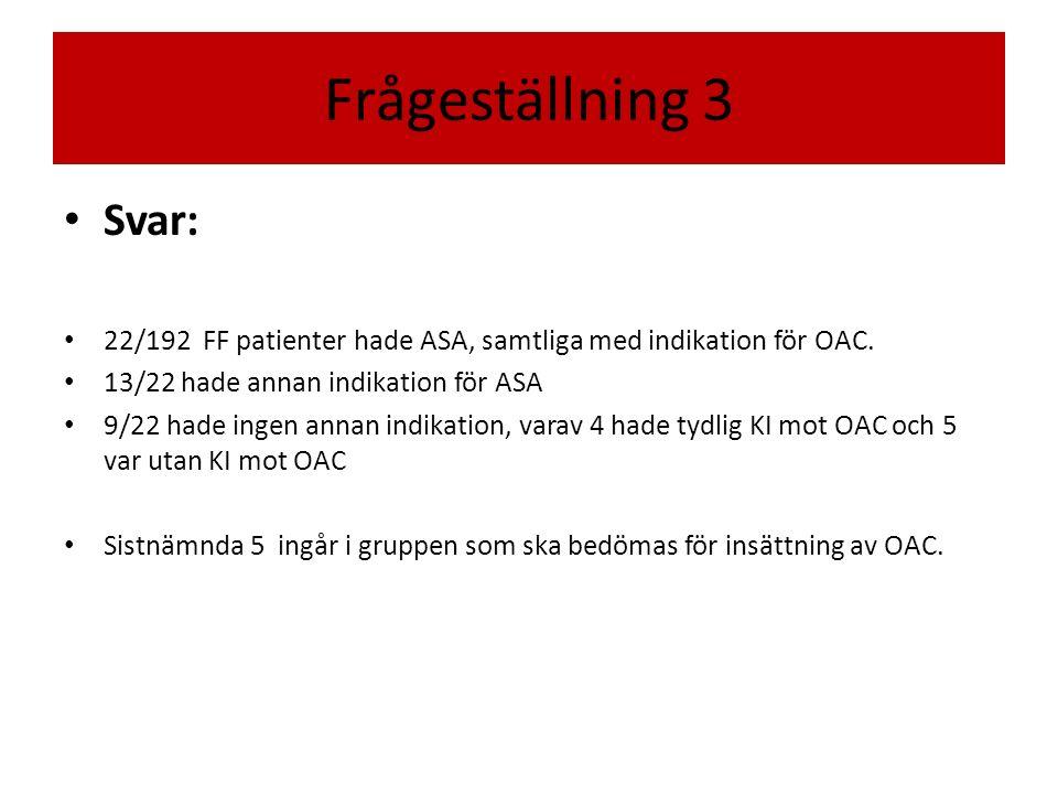 Frågeställning 3 Svar: 22/192 FF patienter hade ASA, samtliga med indikation för OAC.