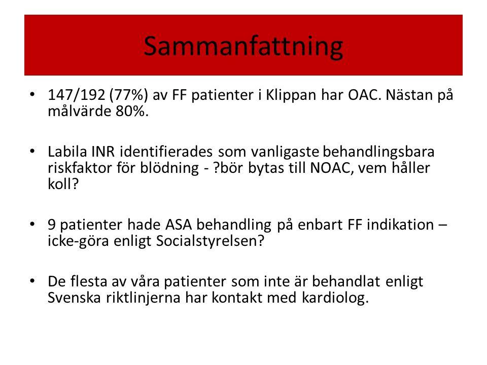 Sammanfattning 147/192 (77%) av FF patienter i Klippan har OAC.