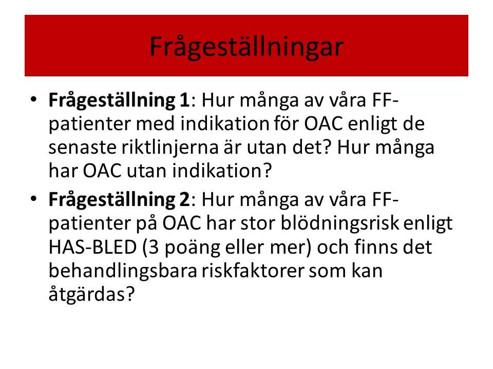 Frågeställningar Frågeställning 1: Hur många av våra FF- patienter med indikation för OAC enligt de senaste riktlinjerna är utan det.