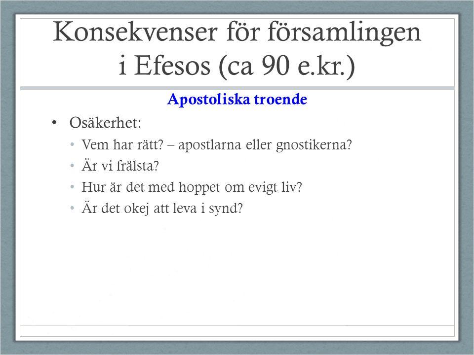 Konsekvenser för församlingen i Efesos (ca 90 e.kr.) Osäkerhet: Vem har rätt.