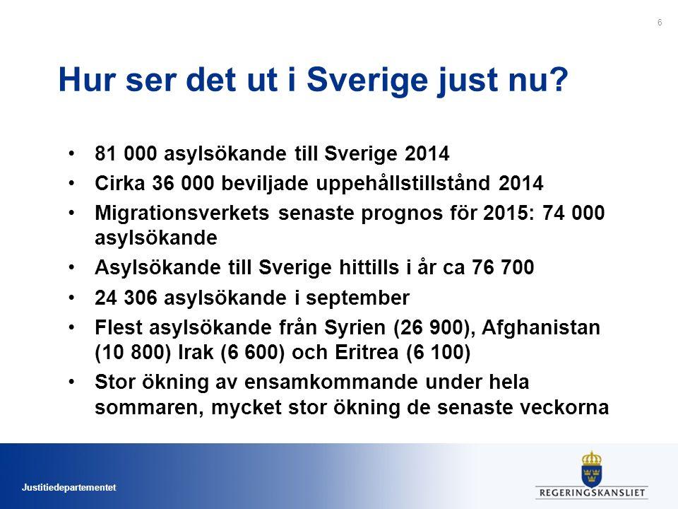 Justitiedepartementet Hur ser det ut i Sverige just nu? 81 000 asylsökande till Sverige 2014 Cirka 36 000 beviljade uppehållstillstånd 2014 Migrations