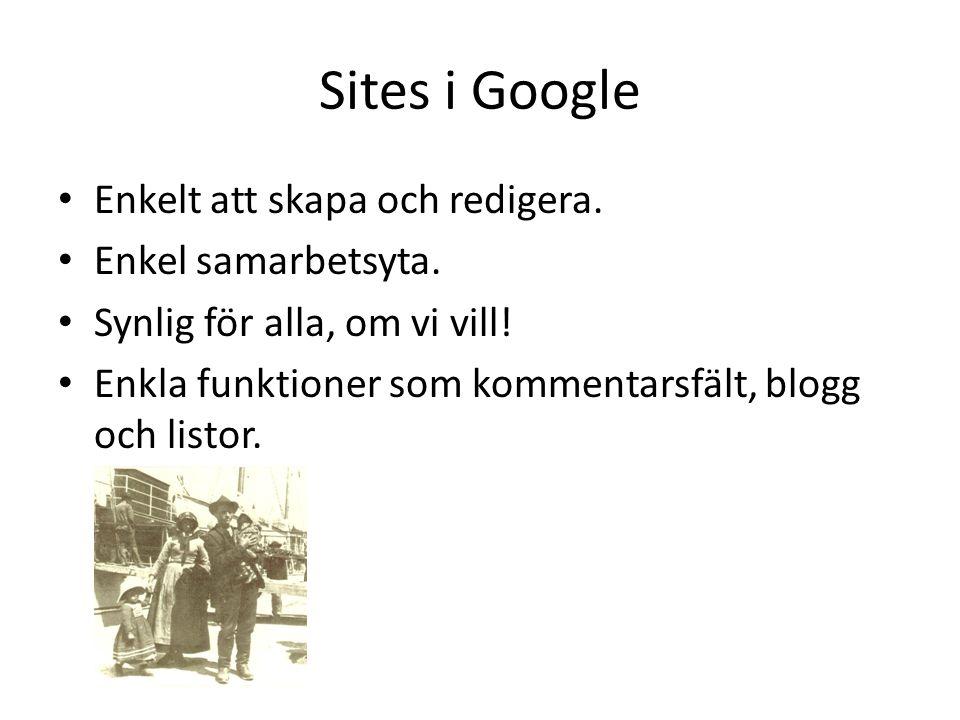 Sites i Google Enkelt att skapa och redigera. Enkel samarbetsyta. Synlig för alla, om vi vill! Enkla funktioner som kommentarsfält, blogg och listor.