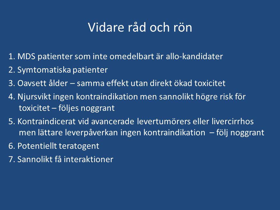 Vidare råd och rön 1.MDS patienter som inte omedelbart är allo-kandidater 2.