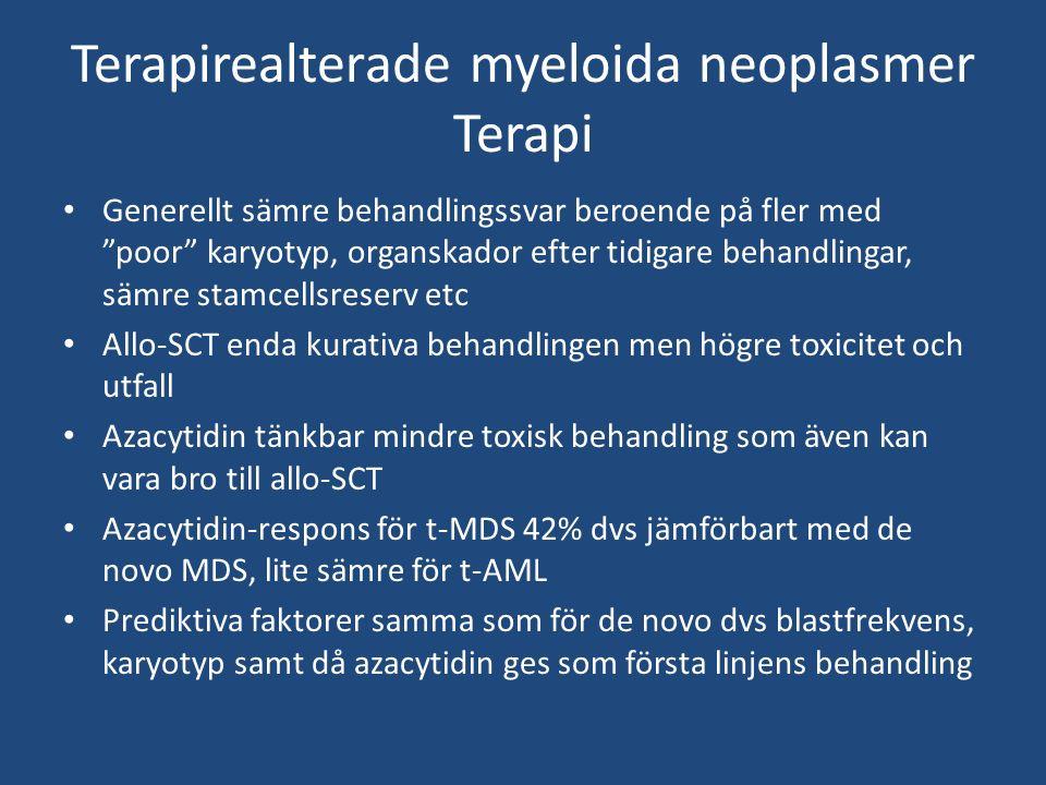 Terapirealterade myeloida neoplasmer Terapi Generellt sämre behandlingssvar beroende på fler med poor karyotyp, organskador efter tidigare behandlingar, sämre stamcellsreserv etc Allo-SCT enda kurativa behandlingen men högre toxicitet och utfall Azacytidin tänkbar mindre toxisk behandling som även kan vara bro till allo-SCT Azacytidin-respons för t-MDS 42% dvs jämförbart med de novo MDS, lite sämre för t-AML Prediktiva faktorer samma som för de novo dvs blastfrekvens, karyotyp samt då azacytidin ges som första linjens behandling