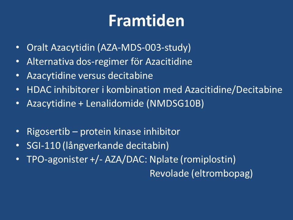 Framtiden Oralt Azacytidin (AZA-MDS-003-study) Alternativa dos-regimer för Azacitidine Azacytidine versus decitabine HDAC inhibitorer i kombination med Azacitidine/Decitabine Azacytidine + Lenalidomide (NMDSG10B) Rigosertib – protein kinase inhibitor SGI-110 (långverkande decitabin) TPO-agonister +/- AZA/DAC: Nplate (romiplostin) Revolade (eltrombopag)