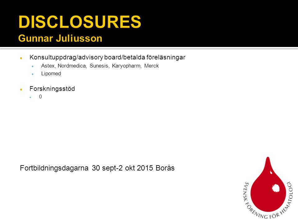 Konsultuppdrag/advisory board/betalda föreläsningar Astex, Nordmedica, Sunesis, Karyopharm, Merck Lipomed Forskningsstöd 0 Fortbildningsdagarna 30 sep