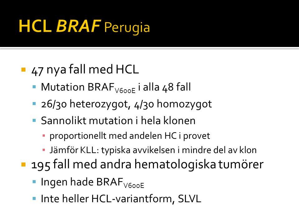  47 nya fall med HCL  Mutation BRAF V600E i alla 48 fall  26/30 heterozygot, 4/30 homozygot  Sannolikt mutation i hela klonen ▪ proportionellt med