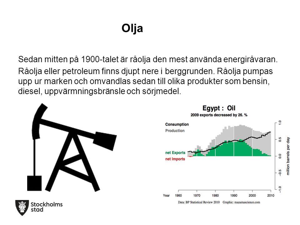 Olja Sedan mitten på 1900-talet är råolja den mest använda energiråvaran.
