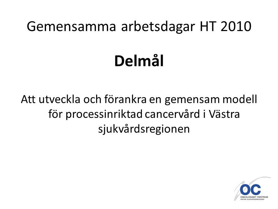 Gemensamma arbetsdagar HT 2010 Delmål Att utveckla och förankra en gemensam modell för processinriktad cancervård i Västra sjukvårdsregionen