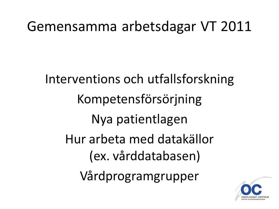 Gemensamma arbetsdagar VT 2011 Interventions och utfallsforskning Kompetensförsörjning Nya patientlagen Hur arbeta med datakällor (ex.
