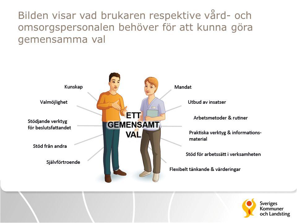 Bilden visar vad brukaren respektive vård- och omsorgspersonalen behöver för att kunna göra gemensamma val