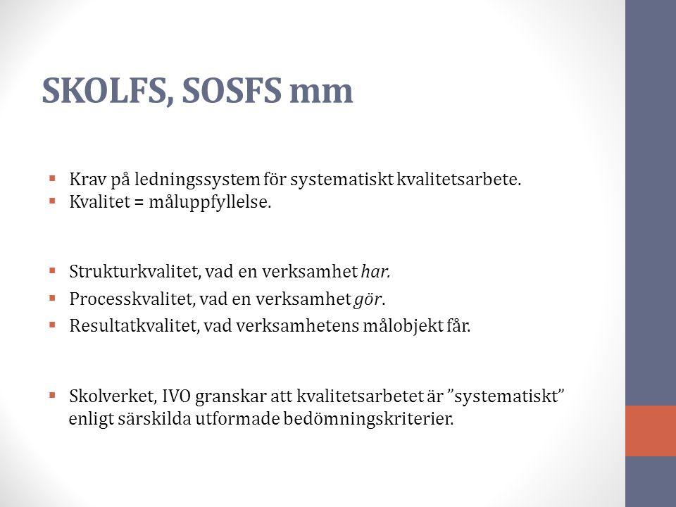 SKOLFS, SOSFS mm  Krav på ledningssystem för systematiskt kvalitetsarbete.  Kvalitet = måluppfyllelse.  Strukturkvalitet, vad en verksamhet har. 