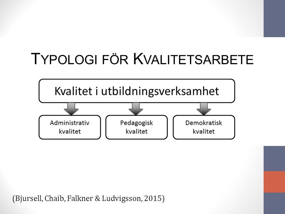 T YPOLOGI FÖR K VALITETSARBETE (Bjursell, Chaib, Falkner & Ludvigsson, 2015)