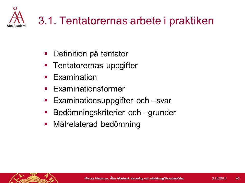 3.1. Tentatorernas arbete i praktiken 2.10.2015Monica Nerdrum, Åbo Akademi, forskning och utbildning/lärandestödet 60  Definition på tentator  Tenta