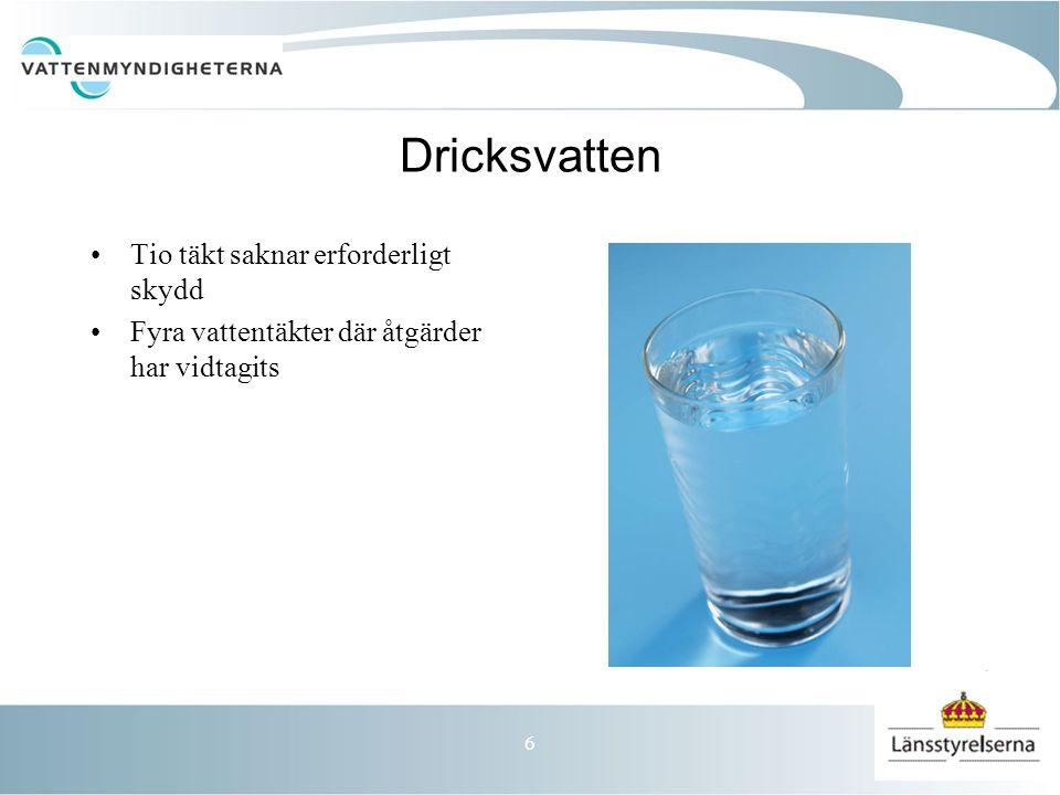 6 Dricksvatten Tio täkt saknar erforderligt skydd Fyra vattentäkter där åtgärder har vidtagits